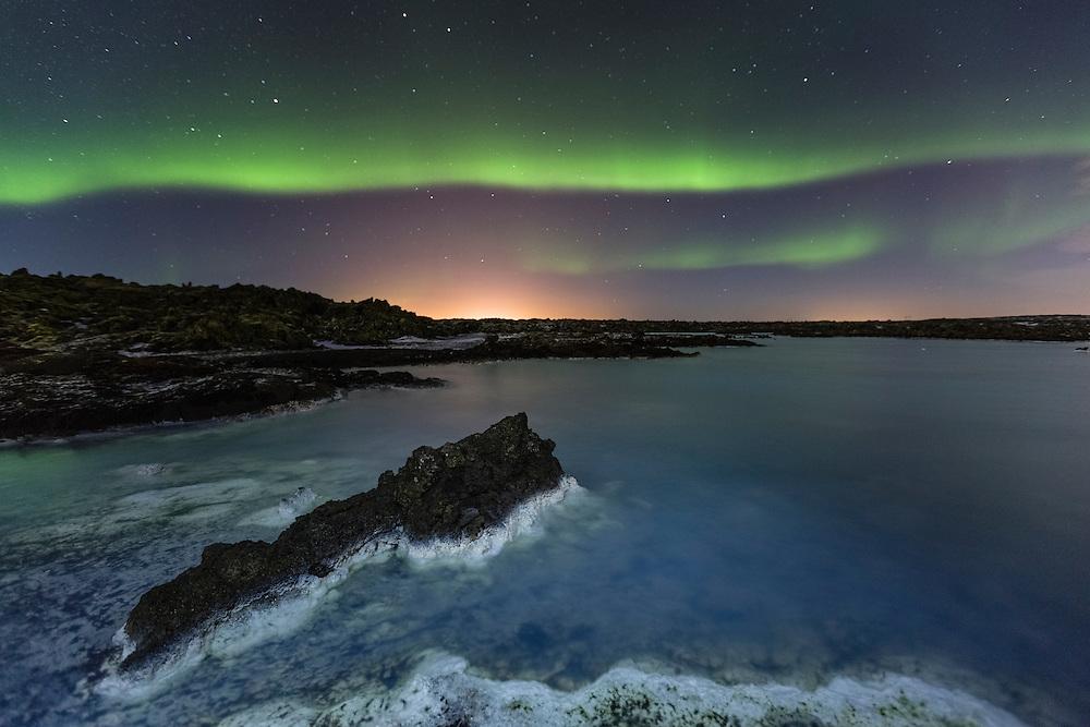 Aurora Borealis over Blue Lagoon, Iceland