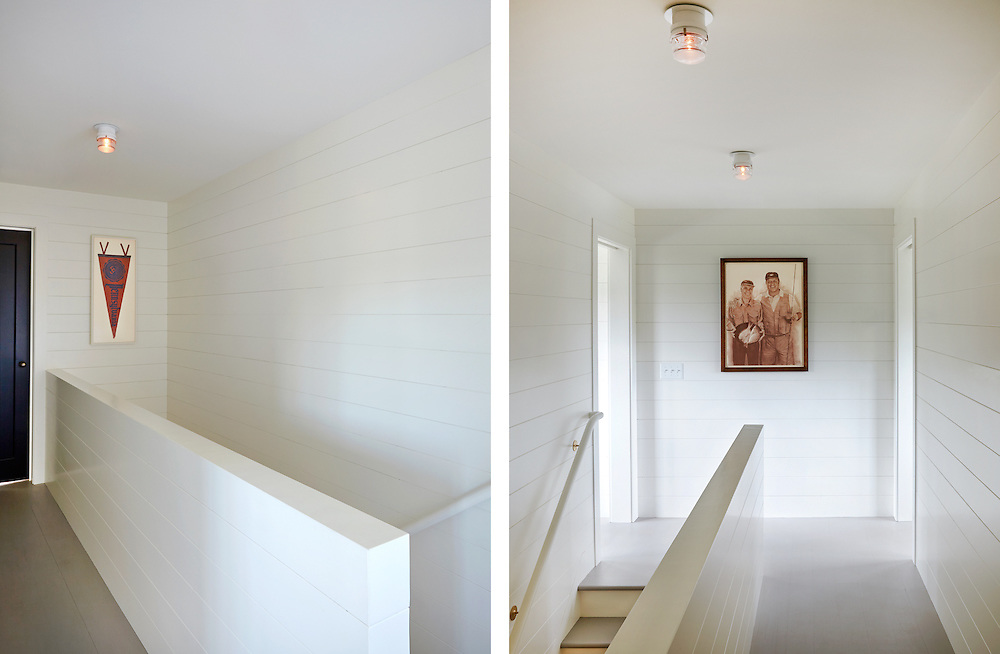 Upstairs hall way and stairs of Rhode Island Coastal Home