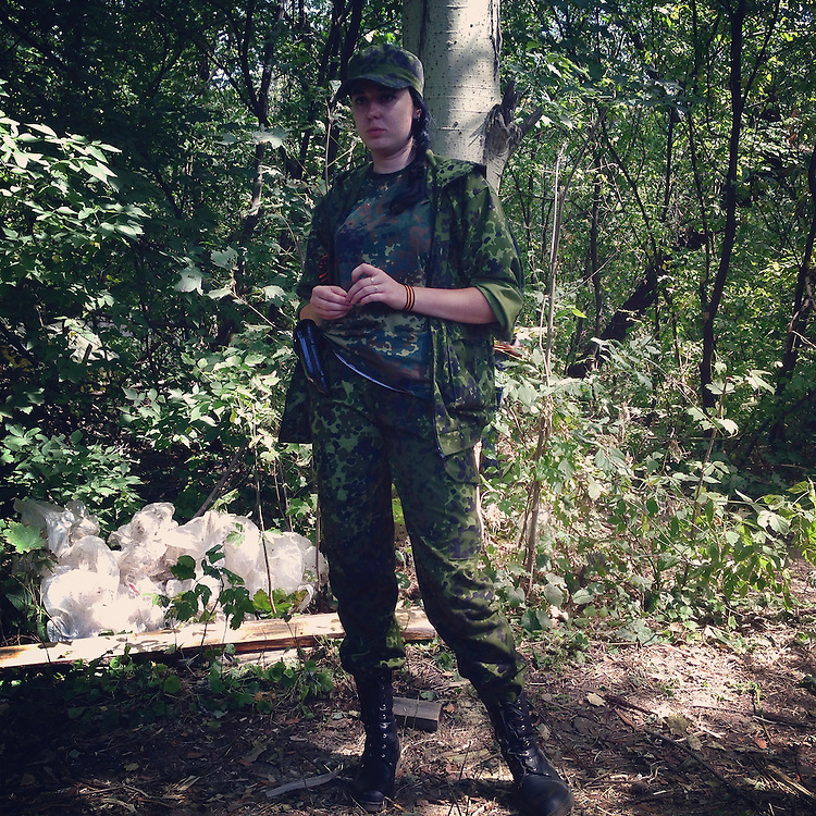 Marta, a pro-Russia rebel, at a checkpoint on Monday, July 28, 2014 in Horlivka, Ukraine.