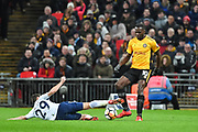 Tottenham Hotspur Midfielder Harry Winks (29) and Newport County Forward Frank Nouble (10) battle for the ball during the The FA Cup 4th round replay match between Tottenham Hotspur and Newport County at Wembley Stadium, London, England on 7 February 2018. Picture by Stephen Wright.