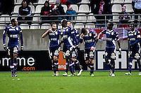 Joie Evian Thonon - Cedric BARBOSA / Cedric CAMBON  - 13.12.2014 - Reims / Evian Thonon  - 18eme journee de Ligue1<br />Photo : Fred Porcu / Icon Sport