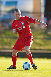 LIVERPOOL, ENGLAND - Tuesday, January 11, 2011: Liverpool's Jay Spearing back in action following a leg fracture during the FA Premiership Reserves League (Northern Division) match against Sunderland at the Kirkby Academy. (Pic by: David Rawcliffe/Propaganda)