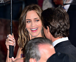 Emily Blunt with Tom Cruise at the London premiere of Edge of Tomorrow, the first of three premiere's for the film to be held in three different countries on the same day, Wednesday, 28th May 2014. Nils Jorgensen / i-Images