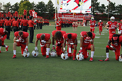 02 September 2017:   Many players take a knee to pray before the Butler Bulldogs at  Illinois State Redbirds Football game at Hancock Stadium in Normal IL (Photo by Alan Look)