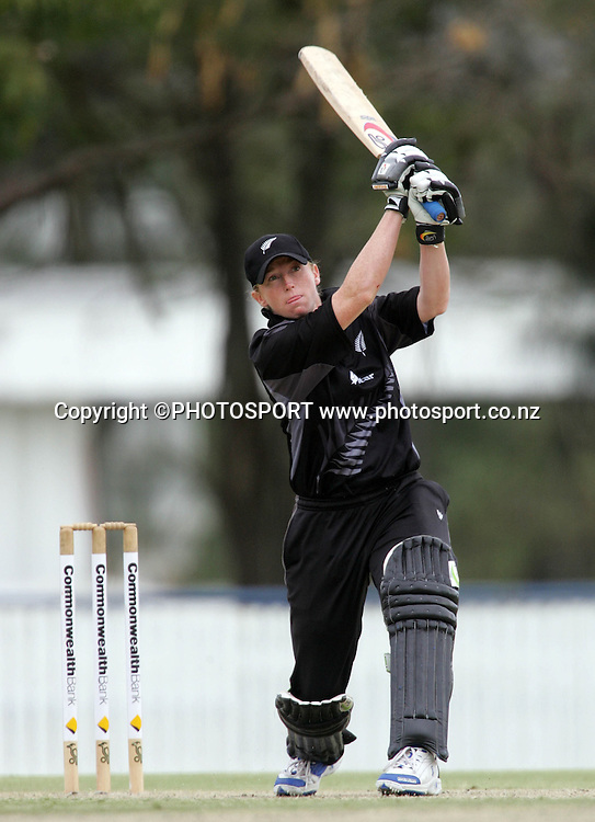 New Zealand's Haidee Tiffen hits out during the fourth ODI Rose Bowl cricket match between the White Ferns and Australia at Allan Border Field, Brisbane, Australia, on Thursday 26 October 2006. Australia won the match by 85 runs with a total of 252. Photo: Renee McKay/PHOTOSPORT<br />