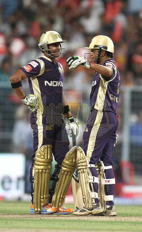 Manoj Tiwary (L) and Gautam Gambhir of Kolkata Knight Riders during match 6 of the Indian Premier League ( IPL ) between the Kolkata Knight Riders and the Deccan Chargers held at Eden Gardens Cricket Stadium in Kolkata, India on the 11th April 2011. ..Photo by Parth Sanyal/BCCI/SPORTZPICS