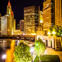 Chicago at night picture. Photo includes Chicago River, Wabash Avenue Bridge, Wrigley Building, Equitable Building, and London Guarantee Building.