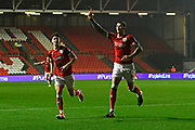 Goal - Aden Flint (4) of Bristol City celebrates scoring a goal to give a 2-0 lead to the home team during the EFL Sky Bet Championship match between Bristol City and Bolton Wanderers at Ashton Gate, Bristol, England on 26 September 2017. Photo by Graham Hunt.