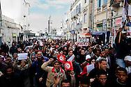 TUNISI. UN CORTEO DI PROTESTA NELLE STRADE DEL CENTRO DI TUNISI;