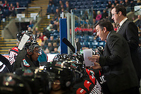 KELOWNA, CANADA - DECEMBER 3: Dan Lambert, head coach of the Kelowna Rockets speaks to players on the bench during the time out against the Saskatoon Blades on December 3, 2014 at Prospera Place in Kelowna, British Columbia, Canada.  (Photo by Marissa Baecker/Shoot the Breeze)  *** Local Caption *** Dan Lambert;