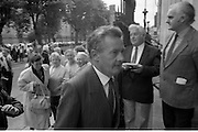 Mass For The 26th Dail.     (T3)..1989..29.06.1989..06.29.1989..29th June 1989..After the General Election  a mass took place today at the Pro-Cathedral in Dublin. The mass was to bless   the incoming TD's who were successful in their election to the Dáil...Des O'Malley TD is pictured arriving at the Pro-Cathedral for the mass for the 26th Dáil.