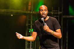 The Pleasance venue launched its 2017 Edinburgh Fringe Festival programme hosted by comedian Ed Gamble<br /> <br /> Pictured: Comedian Dane Baptiste playing at Pleasance Courtyard