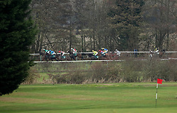 Runners and riders in the Thoroughbred Breeders Association MaresÕ NovicesÕ Hurdle at Warwick Racecourse.