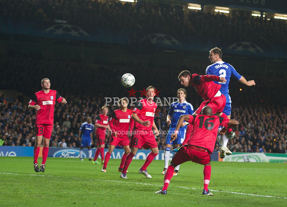 LONDON, ENGLAND - Wednesday, October 19, 2011: Chelsea's Branislav Ivanovic scores his side's fourth goal during the UEFA Champions League Group E match at Stamford Bridge. (Photo by Chris Brunskill/Propaganda)