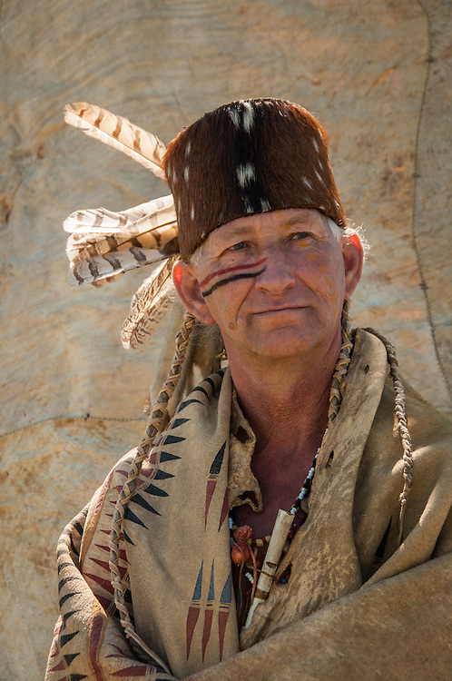 """Native American man """"Yukon"""" wearing robe of the Cheyenne tribal culture at the Annual Lewis & Clark Festival at the Lewis and Clark National Historic Trail Interpretive Center in Great Falls, Montana."""