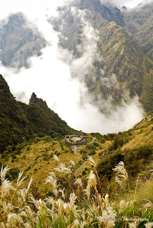Looking down on the Inca ruins of The Tambo Runkuraqay on the Inca trail in the Peruvian Andes