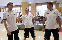 Bostjan Nachbar, Saso Ozbolt and Goran Jagodnik during media day at training camp of Slovenian National Basketball team for Eurobasket Lithuania 2011, on July 19, 2011, in Arena Ljudski vrt, Ptuj, Slovenia.  (Photo by Vid Ponikvar / Sportida)