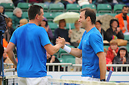 Picture by Ste Jones/Focus Images Ltd.  07706 592282.21/06/12.Richard Krajicek (NED) and Greg Rusedski (GBR) shake hands after their exhibition game at the +medicash Liverpool International 2012 tennis at Calderstones Park, Liverpool.