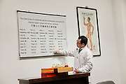 China, Beijing, Chinese Medicine practitioner explains the method with the help of charts