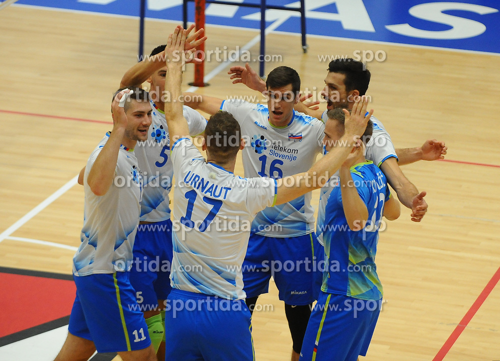 Danijel Koncilija of Slovenia, Alen Sket of Slovenia, Tine Urnaut of Slovenia, Gregor Ropret of Slovenia, Mitja Gasparini of Slovenia and Jani Kovacic of Slovenia celebrate during friendly volleyball match between National teams of Serbia and Slovenia, on August 18, 2017, in Belgrade, Serbia. Photo by Nebojsa Parausic / MN press / Sportida
