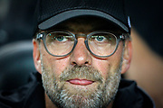 Liverpool manager Jurgen Klopp tongue out during the EFL Cup match between Milton Keynes Dons and Liverpool at stadium:mk, Milton Keynes, England on 25 September 2019.