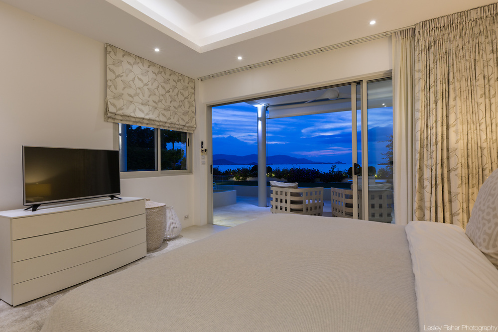 Bedroom at Villa Som, a Luxury and private 4 bedroom villa with gym and ocean view located in Plai Laem, Koh Samui, Thailand