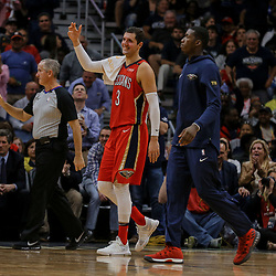 Apr 11, 2018; New Orleans, LA, USA; New Orleans Pelicans forward Nikola Mirotic (3) and forward Cheick Diallo (right) come off the bench to celebrate during the fourth quarter against the San Antonio Spurs at the Smoothie King Center. The Pelicans defeated the Spurs 122-98. Mandatory Credit: Derick E. Hingle-USA TODAY Sports