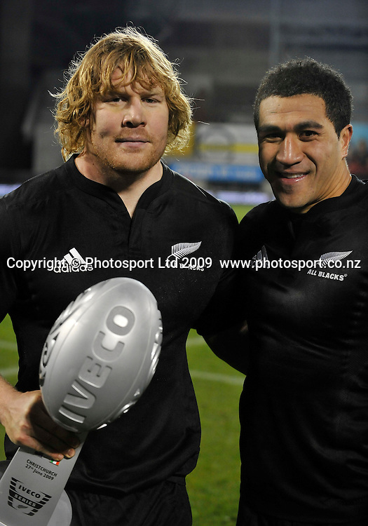All Black captain Mils Muliaina poses with debutant Aled De Malmance (L). International rugby union test match, All Blacks v Italy. AMI Stadium, Christchurch, New Zealand. Saturday 27 June 2009. Photo: Simon Watts/PHOTOSPORT