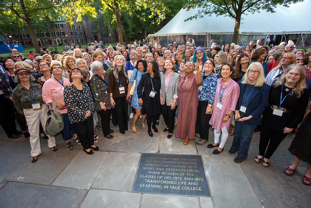 © Photo by Mara Lavitt<br /> September 21, 2019<br /> Old Campus, New Haven, CT.<br /> <br /> The third day of the 50th Anniversary celebration of co-education at Yale included the dedication of a 50th Anniversary Commemorative Stone.