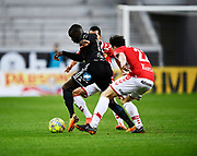 KALMAR, SWEDEN - APRIL 18: Ken Sema of Ostersunds FK and Melker Hallberg of Kalmar FF competes for the ball during the Allsvenskan match between Kalmar FF and Ostersunds FK at Guldfageln Arena on April 18, 2018 in Kalmar, Sweden. Photo by Jonas Gustafsson/Ombrello ***BETALBILD***