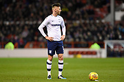 Preston North End's Tom Barkhuizen (12) lines up a free kick during the EFL Sky Bet Championship match between Nottingham Forest and Preston North End at the City Ground, Nottingham, England on 30 January 2018. Photo by Jon Hobley.
