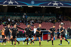 (L-R) Jan-Arie van der Heijden of Feyenoord, Sofyan Amrabat of Feyenoord, Tonny Vilhena of Feyenoord, Karim El Ahmadi of Feyenoord, Steven Berghuis of Feyenoord, Jens Toornstra of Feyenoord during the UEFA Champions League group F match between SSC Napoli and Feyenoord Rotterdam on September 26, 2017 at the Stadio San Paolo in Naples, Italy