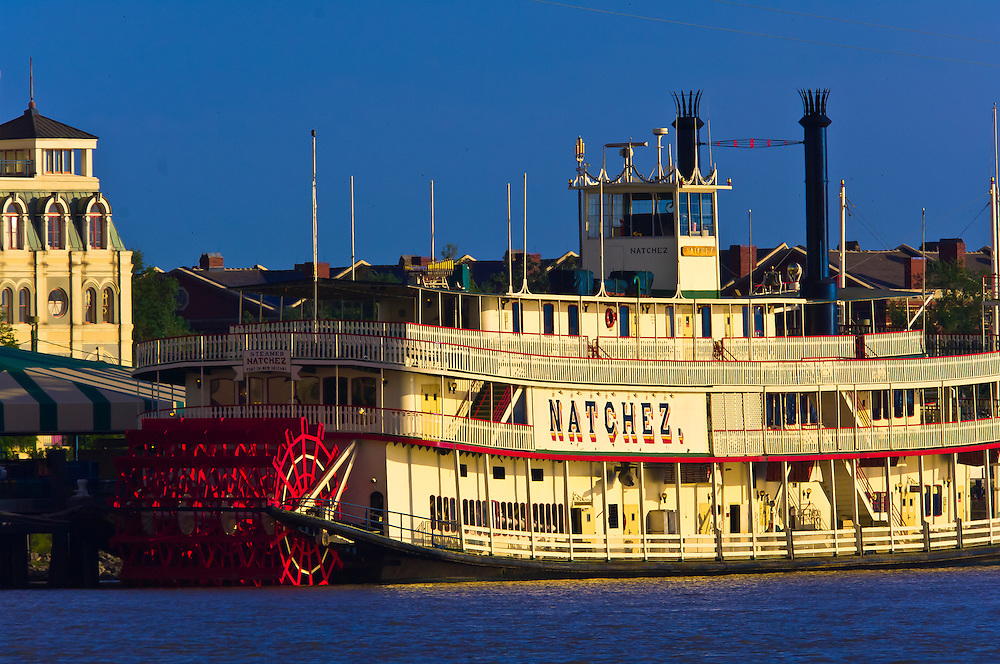 View of the Natchez riverboat and the French Quarter from across the Mississippi River in Algiers; New Orleans, Louisiana, USA