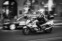 Motorcycle Patrol (Stockholm Polis). Image taken with a Leica X2 camera (ISO 100, 24 mm, f/4.5, 1/100 sec). In camera conversion to B&W. Semester at Sea Spring 2013 Enrichment Voyage.