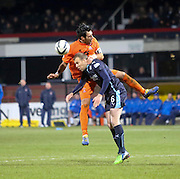 Aerial combat from Kilmarnock captain Manuel Pascali and Dundee's David Clarkson -  Dundee v Kilmarnock, SPFL Premiership at Dens Park <br /> <br /> <br />  - &copy; David Young - www.davidyoungphoto.co.uk - email: davidyoungphoto@gmail.com