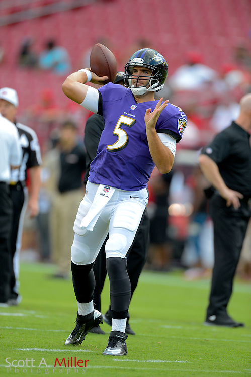 Baltimore Ravens quarterback Joe Flacco (5) during a preseason NFL game at Raymond James Stadium on Aug. 8, 2013 in Tampa, Florida. <br /> <br /> &copy;2013 Scott A. Miller