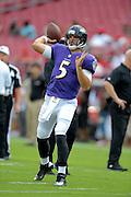 Baltimore Ravens quarterback Joe Flacco (5) during a preseason NFL game at Raymond James Stadium on Aug. 8, 2013 in Tampa, Florida. <br /> <br /> &copy;2013 Scott A. Miller