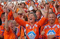 TRONDHEIM 20070702. AaFK-supporterne jubler under kampen mellom Rosenborg og Aalesund, kampen hvor Adin Brown scoret. <br /> Foto: Svein Ove Ekornesvåg