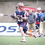 Will Mangan #21 of the Boston Cannons controls the ball during the game at Harvard Stadium on April 27, 2014 in Boston, Massachusetts. (Photo by Elan Kawesch)