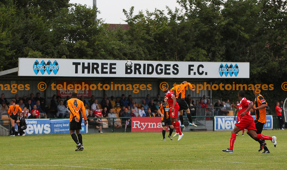 General view of the action during the pre season friendly between Three Bridges and Crawley Town at Jubilee Field in Crawley. July 28, 2014.<br /> James Boardman TELEPHOTO IMAGES