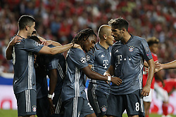 September 19, 2018 - Lisbon, Portugal - Renato Sanches of Bayern Munchen (C) celebrates his goal with Robert Lewandowski of Bayern Munchen (L) and Javi Martinez of Bayern Munchen (R)  during Champions League 2018/19 match between SL Benfica vs FC Bayern Munchen, in Lisbon, on September 19, 2018. (Credit Image: © Carlos Palma/NurPhoto/ZUMA Press)