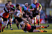 2005/06, National League One, Rugby, NEC Harlequins vs London Welsh, Quins's George Harder's attacking run is shalted by the combined tackles of the 'Dragons defence at the Twickenham Stoop, on 26.12.2005 ENGLAND   © Peter Spurrier/Intersport Images - email images@intersport-images..   [Mandatory Credit, Peter Spurier/ Intersport Images].