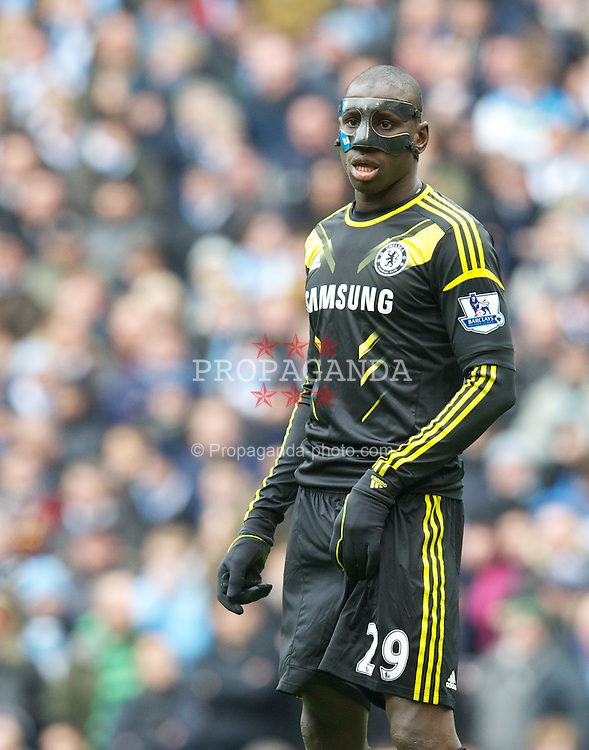 MANCHESTER, ENGLAND - Sunday, February 24, 2013: Chelsea's Demba Ba in action against Manchester City during the Premiership match at the City of Manchester Stadium. (Pic by David Rawcliffe/Propaganda)