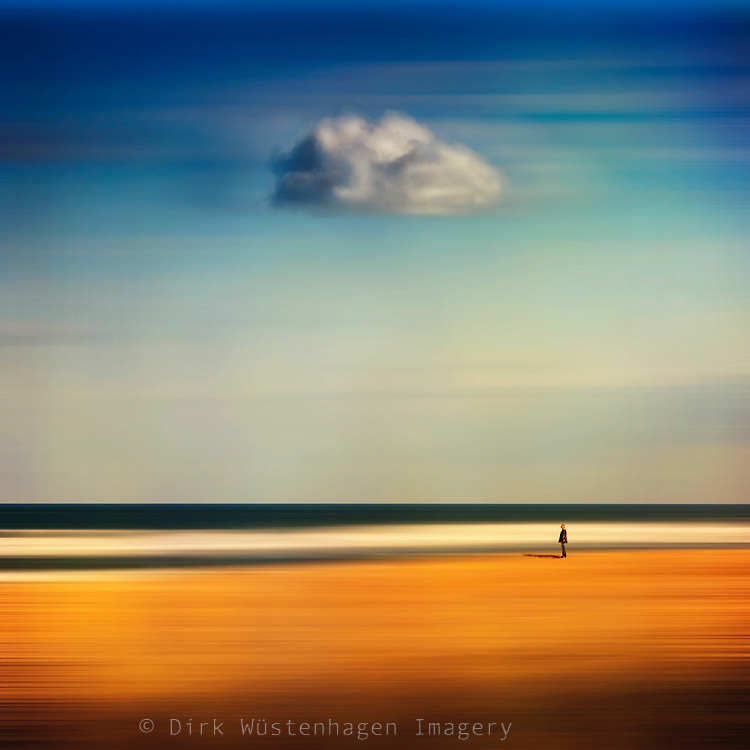 Abstract seascape with a lonesome man and a single cloud