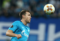 November 23, 2017 - Saint Petersburg, Russia - Artem Dzyuba of FC Zenit Saint Petersburg vie for the ball during the UEFA Europa League Group L football match between FC Zenit Saint Petersburg and FK Vardar at Saint Petersburg Stadium on November 23, 2017 in St.Petersburg, Russia. (Credit Image: © Igor Russak/NurPhoto via ZUMA Press)