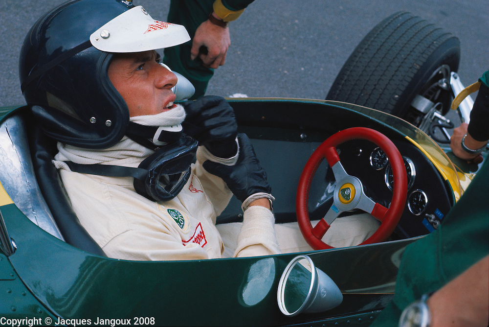 Jim Clark twice Formula 1 World Champion and Grand Prix racing legend in his Lotus.