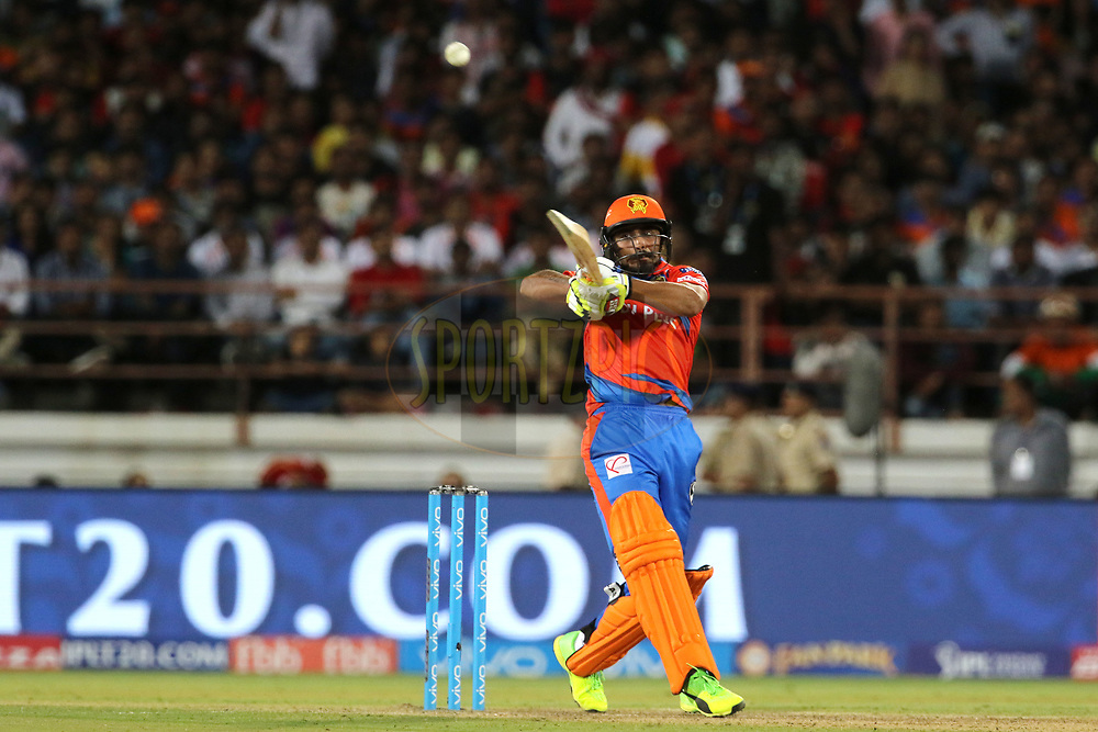 Ravindra Jadeja of the Gujarat Lions plays a shot during match 20 of the Vivo 2017 Indian Premier League between the Gujarat Lions and the Royal Challengers Bangalore  held at the Saurashtra Cricket Association Stadium in Rajkot, India on the 18th April 2017<br /> <br /> Photo by Vipin Pawar - Sportzpics - IPL
