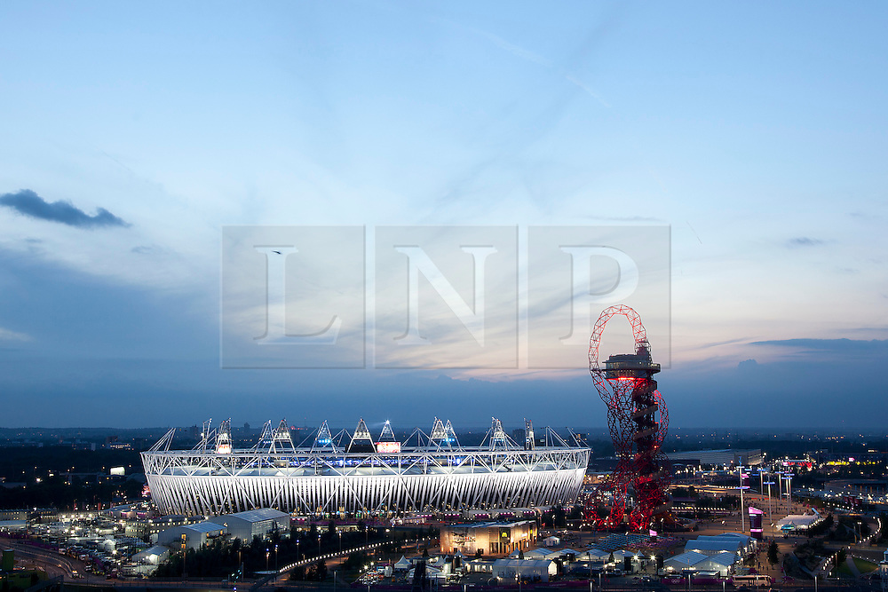 © Licensed to London News Pictures. 12/08/2012. LONDON, UK. The Olympic Stadium and ArcelorMittal Orbit are seen as the closing ceremony of the 2012 Summer Olympics prepares to get underway in London today (12/08/12). The Games of the 30th Olympiad today come to a close in London after two weeks of athletics and sports competition carried out by 204 countries from around the world. Photo credit: Matt Cetti-Roberts/LNP