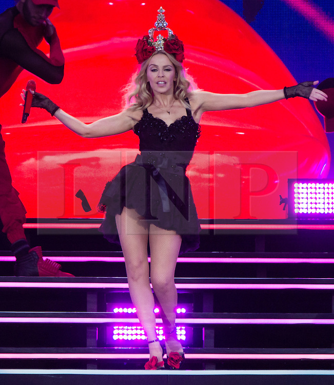 © Licensed to London News Pictures. 21/06/2015. London, UK.  Kylie Minogue performing at Hyde Park as part of the British Summer Time series of entertainment and music events and concerts held at Hyde Park .  *** REMOVE FROM DISTRIBUTION FOR SYNDICATION ON 6 JULY 2015 ***  Photo credit: Richard Isaac/LNP