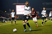 Louie Sibley on the ball during the The FA Cup match between Northampton Town and Derby County at the PTS Academy Stadium, Northampton, England on 24 January 2020.